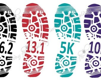 Shoe Print Marathon, Half Marathon, 5K, 10K, 15K, 20K, 25K, 30K Running Decal /Sticker for Car, Laptop or any non painted surface