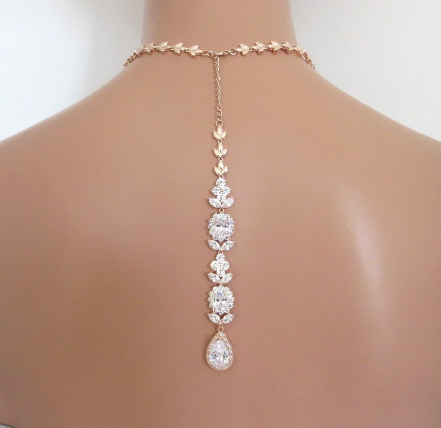 Backdrop Bridal Necklace Rose Gold Back Drop Necklace