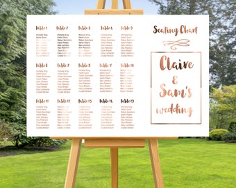 Copper Foil Wedding SEATING CHART, wedding seating chart, custom wedding sign, custom seating chart, personalised wedding signage