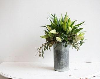Distressed Corrugated Metal Vase
