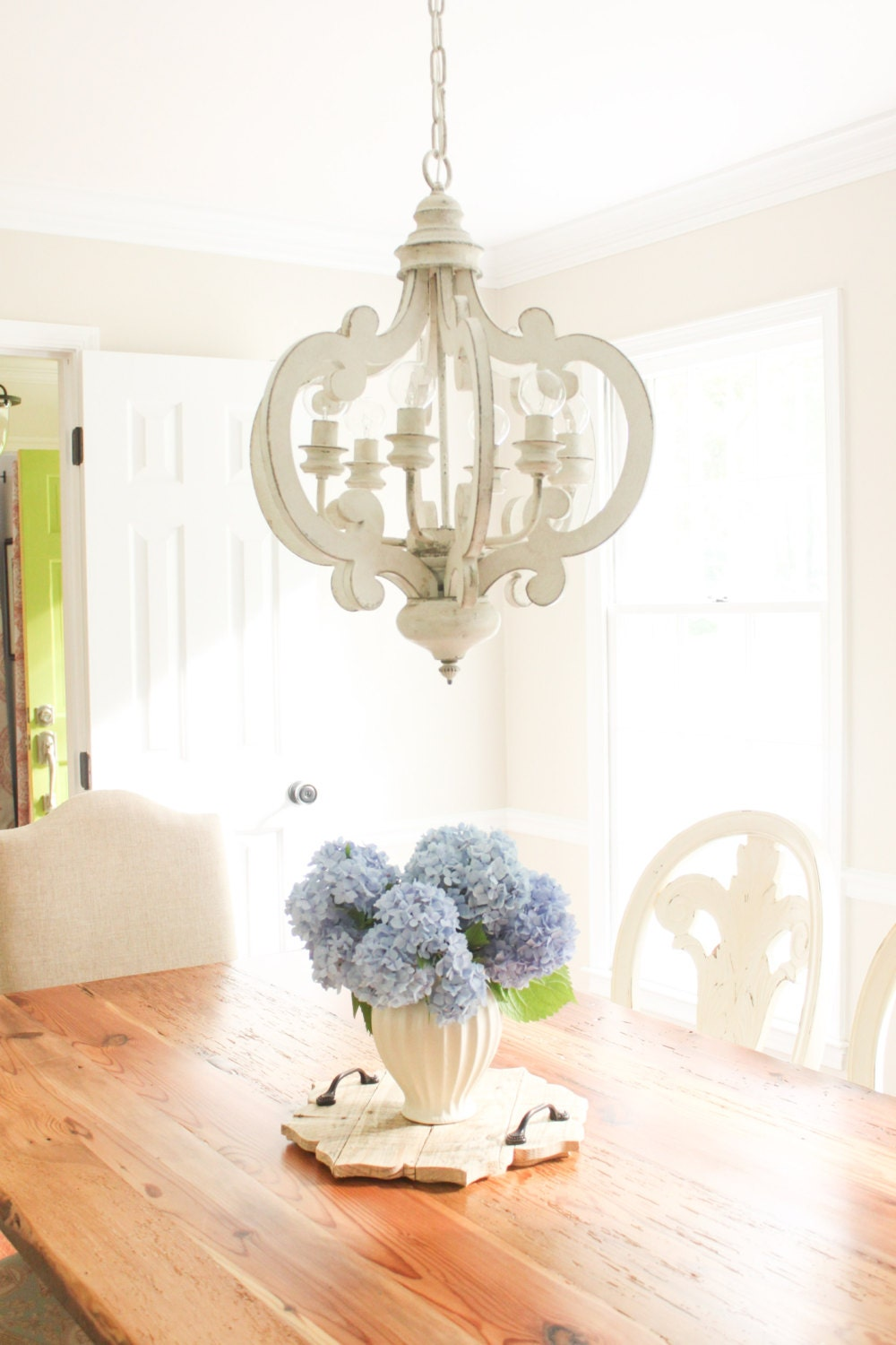 White Distressed Chandelier Painted 6 Light Pendant
