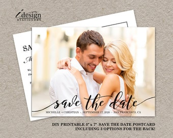 Printable Photo Save The Date Postcard With Handwriting Font | Wedding Save The Dates With Picture And Calligraphy Script Fonts