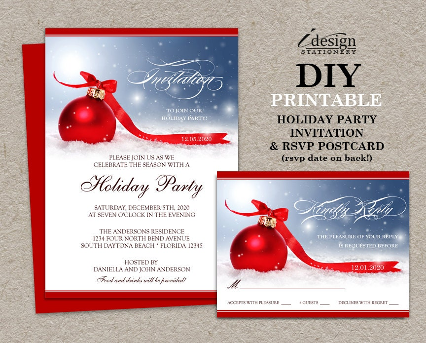 Personalized christmas invitations with rsvp cards printable for Business christmas cards personalized