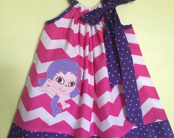 Custom Made Pillowcase Dress Pink Chevron with Oona of Bubble Guppies Machine Embroidered Purple Bebe Dot Hem & Ribbon-Sizes NB-8 y/o