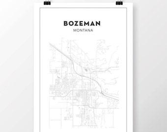 FREE SHIPPING to the U.S!! BOZEMAN Map Print