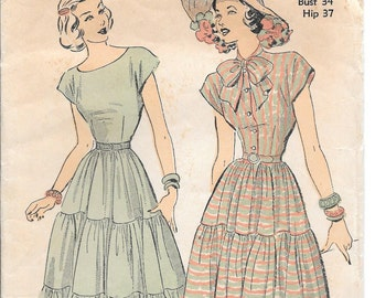 1940s Vintage Sewing Pattern Tiered Day Dress, Short Sleeves, Fitted Bodice Advance 4858 Sz 16, Bust 34
