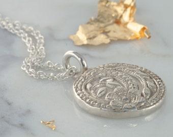Handmade Sterling Silver Flower Pendant Necklace