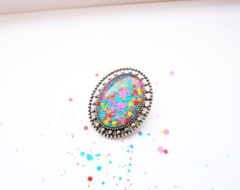 Silver Brooch/ Cabochon Brooch/ Neon Pinback/ Hijab Pin/ Hijab Brooch/ Badge Pinback/ Glitter Brooch/ Spring Brooch