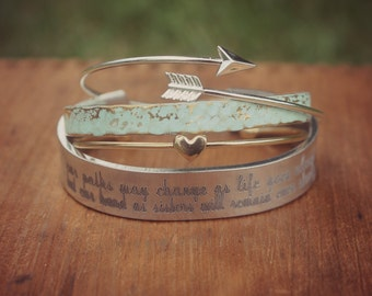 Long Distance Sisters, Our Paths May Change As Life Goes Along But Our Bond As Sisters Will Remain Ever Strong, Set of Bracelets Friend Gift