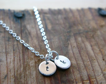Silver Initials Disc Necklace - Monogram - Personalized Jewelry - Two Initials