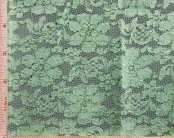 "Light Green Daisy Flower Embroidery Lace Fabric Nylon Rayon 52-54"""