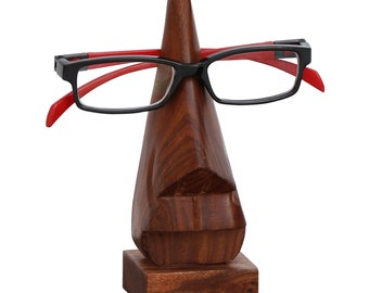 "SouvNear - 6"" Witty Spectacle Holder Hand Carved Wooden Nose Eyeglass Holder / Spectacle / Sun Glasses / Display Stand - Desktop Accessory"