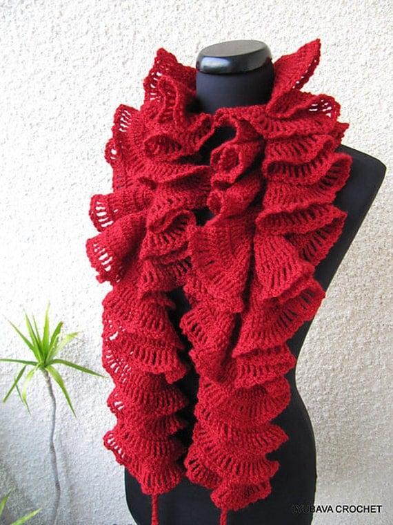 Crochet Ruffle Scarf : Crochet Ruffle Scarf Red Scarf Valentines by CrochetedByLyubava