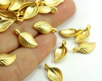 10 Pcs 24k Gold Leaf Charm, Mini Leaf Charm, Gold Plated Leaf Charm, Gold Small Leaf, Leaf Gold Charm, Gold Charm Findings, Gold Findings