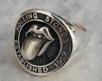Heavy 3D Rolling Stones Ring Solid Sterling Silver 925