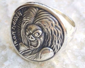 Heavy 3D Iron Maiden Ring Solid Sterling Silver 925