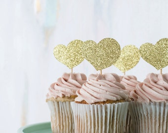 heart : cupcake toppers [set of 12]