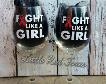 fight like a girl, breast cancer wine glass