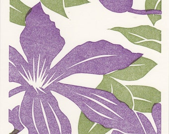 "Clematis 2 color4"" X 5"" linoleum print card"