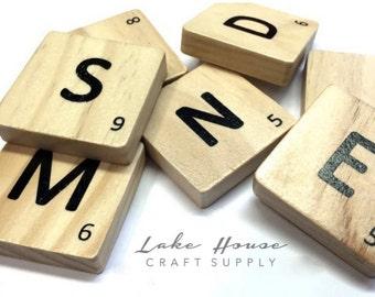 50 Large Scrabble Style Tiles. Oversized Scrabble Tiles Replica. Wooden Letter Tiles.