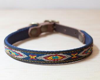 "Thin Custom Leather Blue/Yellow Dog Collar. Navajo Navy 1/2"""