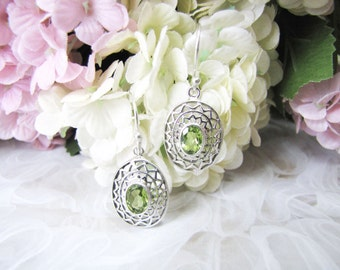 Christmas Gift for Her, Filigree Sterling Silver Earrings, Elegant Designed Earrings, Stunning Green Crystal Earrings, Everyday Earrings