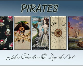 Pirates Discount on all goods 50%  INSTANT DOWNLOAD Sea Adventures printable 1 x 2 inch digital collage sheet