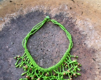 Handmade Green & Wooden Bead Fringe Necklace