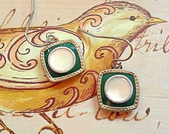 1920s Art Deco Square Cufflink Earrings, Dark/Hunter Green, Mother of Pearl