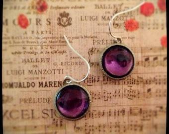 1940s Cabochon Cufflink Dangle Earrings, Purple