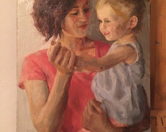 Original Oil Painting of a Mother and Child