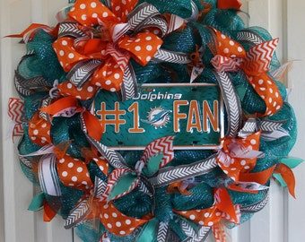 Miami Dolphins deco mesh wreath. Custom professional or college sport team deco mesh wreath.Packers Made to order wreath.  Packers decor