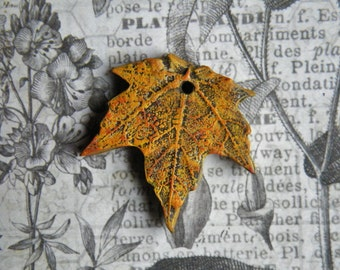 NEW! Rustic Fall Sugar Maple Leaf Pendant, Golden Yellow with Hints of Orange Polymer Clay