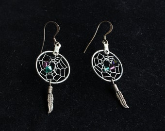 Vintage Sterling Silver Dream Catcher Feather Dangle Earrings