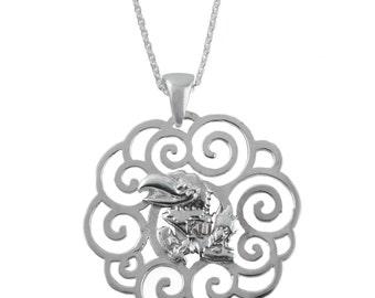 Kansas Sterling Silver Charm Necklace, Jayhawks Silver Jewelry, UKS-6118F