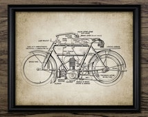Vintage Motorcycle Print - Classic Motorcycle Design - Vintage Motorcycle Parts - Printable Art - Single Print #516 -INSTANT DOWNLOAD