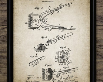 Hair Clipper Patent Print - Hairdresser Art - 1894 Vintage Hair Clipper Design - Hair Styling - Single Print #1464 - INSTANT DOWNLOAD