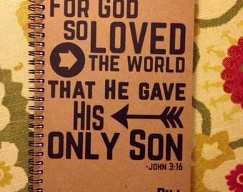 "Personalized Journal, ""For God so Loved the World"", John 3:16"