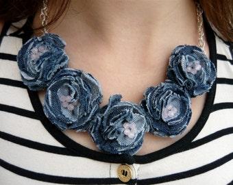 Statement necklace Denim jewelry Blue denim rose quartz necklace Blue jeans jewelry Flower necklace Textile womens necklace Gift for women