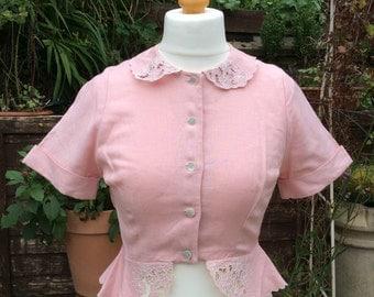 Vintage linen UK12US8EU40 pink blouse