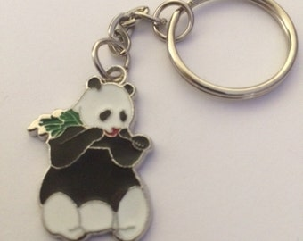Panda Bear Keyring - Cute Enamel Panda Bear with a Bamboo Leaf Keyring