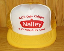 NALLEY Potato Chips B.C.'s Only Chipper Original Vintage 80s Yellow Mesh Trucker Snapback Hat Sunshine Screen Printing Snack Food Promo Cap