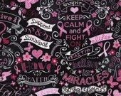 Pink Ribbon Chalkboard Fabric Fat Quarter, Third Yard, Half Yard, or By-The-Yard; Timeless Treasures C3999; Novelty Fabric; Cancer Awareness