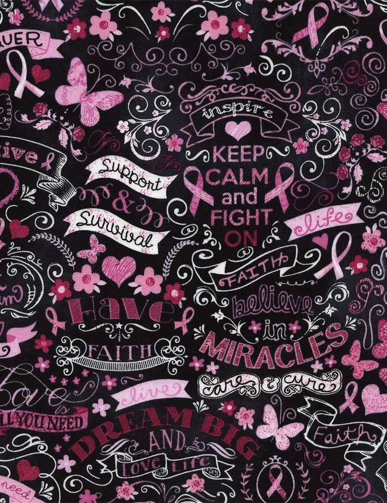Pink Ribbon Chalkboard Fabric Fat Quarter Third Yard