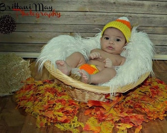 Crocheted Candy Corn Hat and diaper cover
