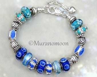 Aqua Ocean Royal Blue Glass Bead European Bracelet Aunt Mother Daughter Sister Nana Grandma Lampwork Glass Beaded Charm Bracelet  #EB1346