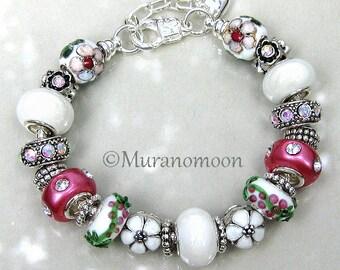 White Flower Charm Bracelet White Pink European Beaded Bracelet Crystal Charms Heart Name Dangle Charm Gift for Aunt Nana Grandma #EB1371