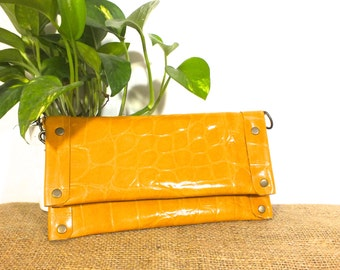 Autumn Yellow Leather Clutch