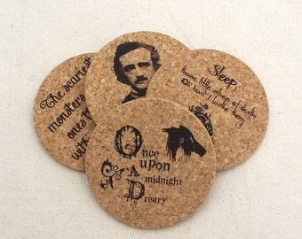 Edgar Allan Poe Cork Coaster Set of 4