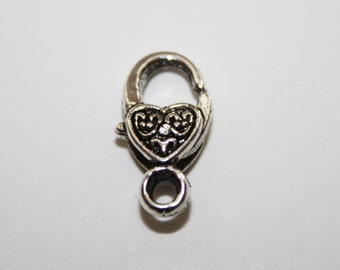 Silver Lobster Heart Claw Clasps, - 17x8mm - 10ct - #048